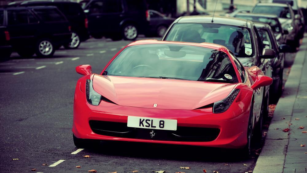 Parked Ferrari wallpaper