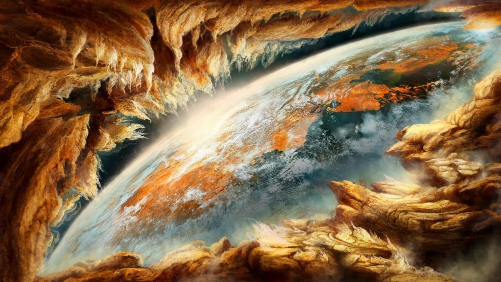 Digital space art wallpaper
