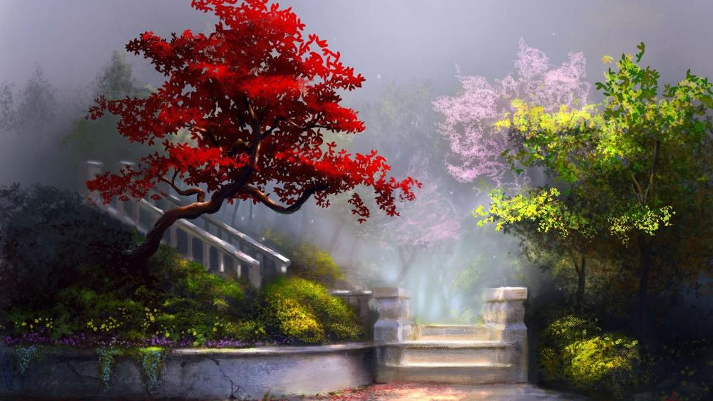 Enchanted garden with white stairs wallpaper