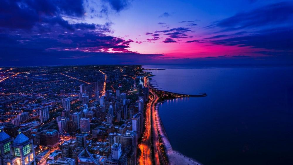 Chicago city sunset wallpaper