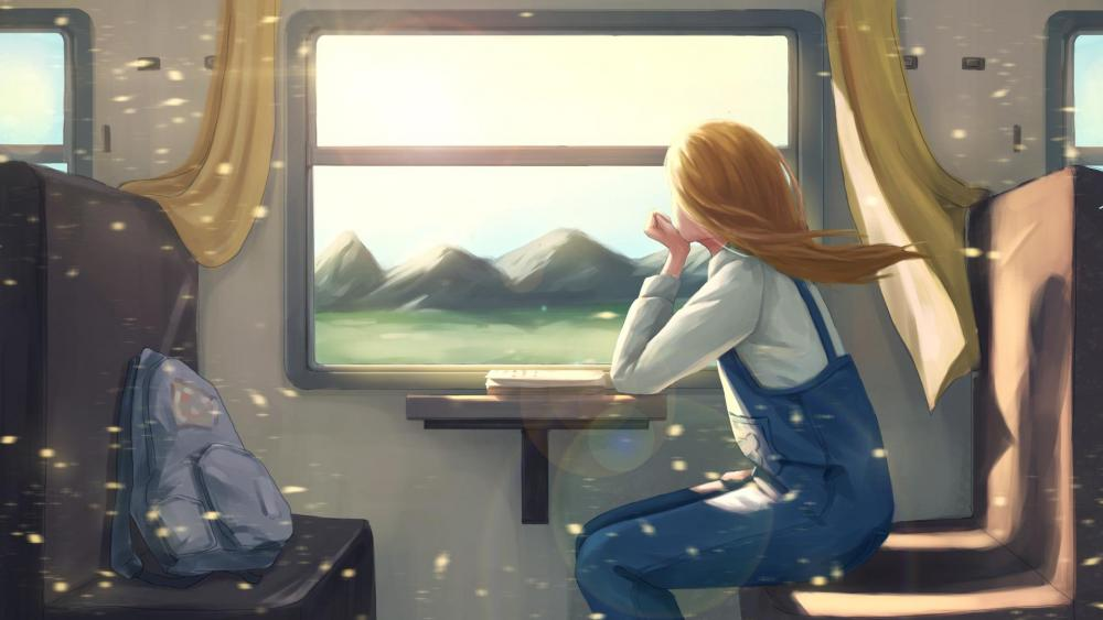 Girl riding a train wallpaper