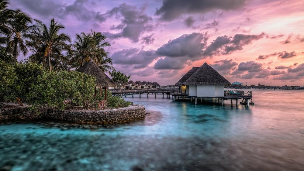 Overwater bungalow in Maldives wallpaper