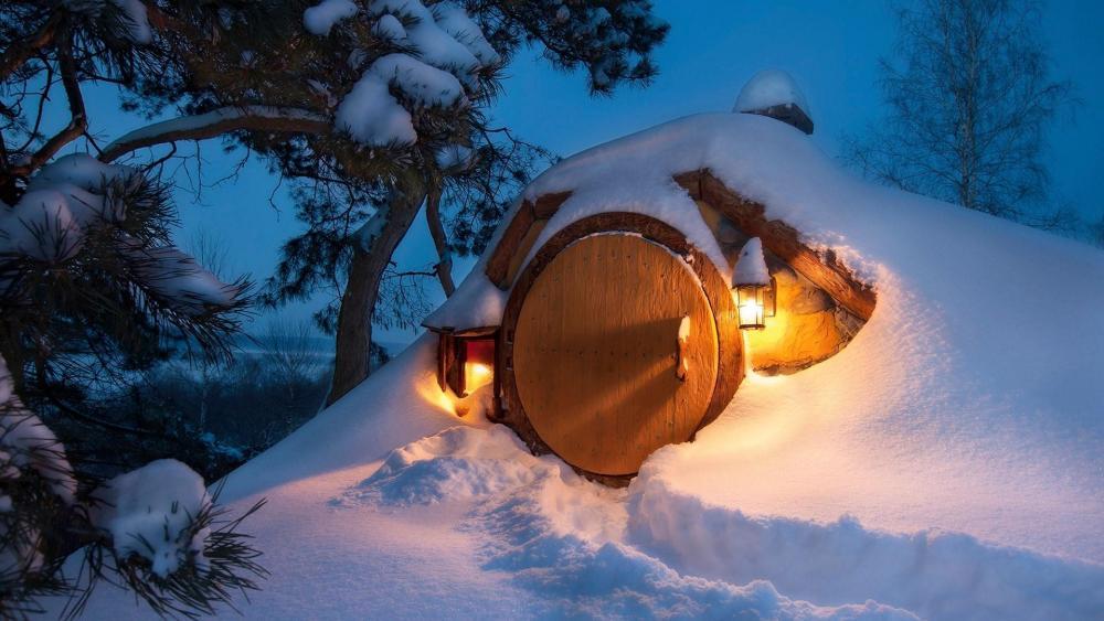 Hobbiton in winter wallpaper