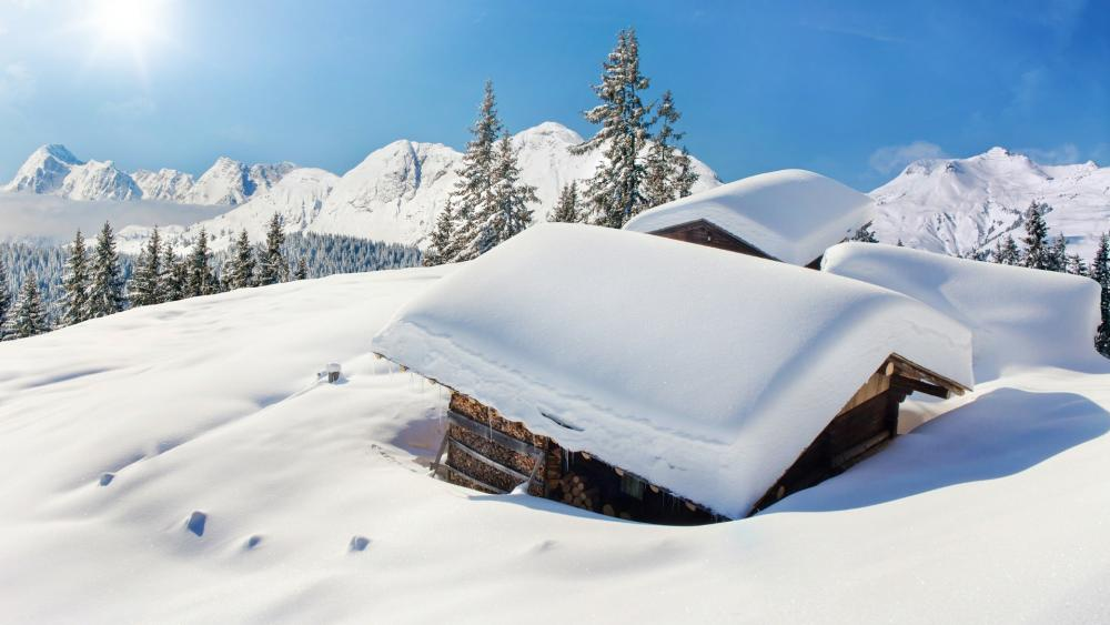 Snowy roof wallpaper