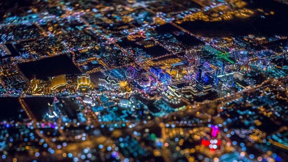 Las Vegas aerial view at night wallpaper