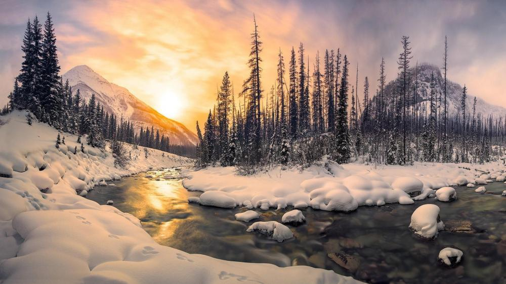 River bend in the snowy mountains wallpaper