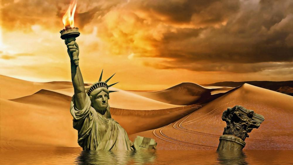 Sinking Statue of Liberty wallpaper
