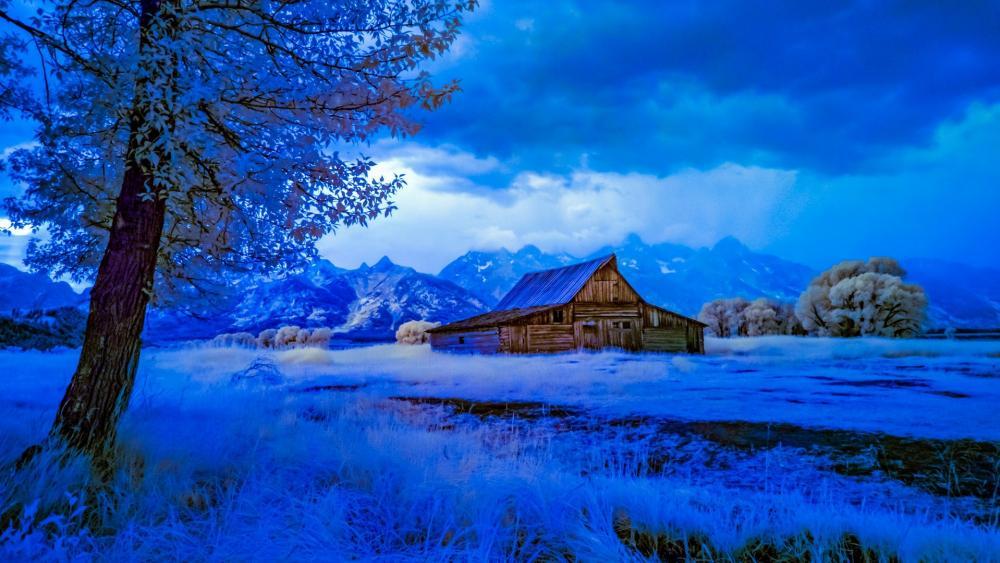 Moulton Barn blue moment (Grand Teton National Park) wallpaper