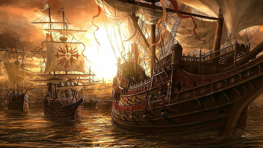 Ancient sailing ships wallpaper