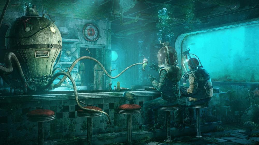 Sea bar - Underwater fantasy art wallpaper
