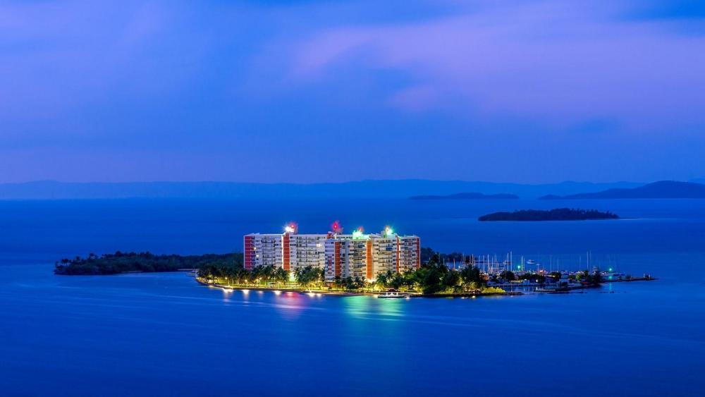 Isleta Marina at dusk  (Fajardo, Puerto Rico) wallpaper