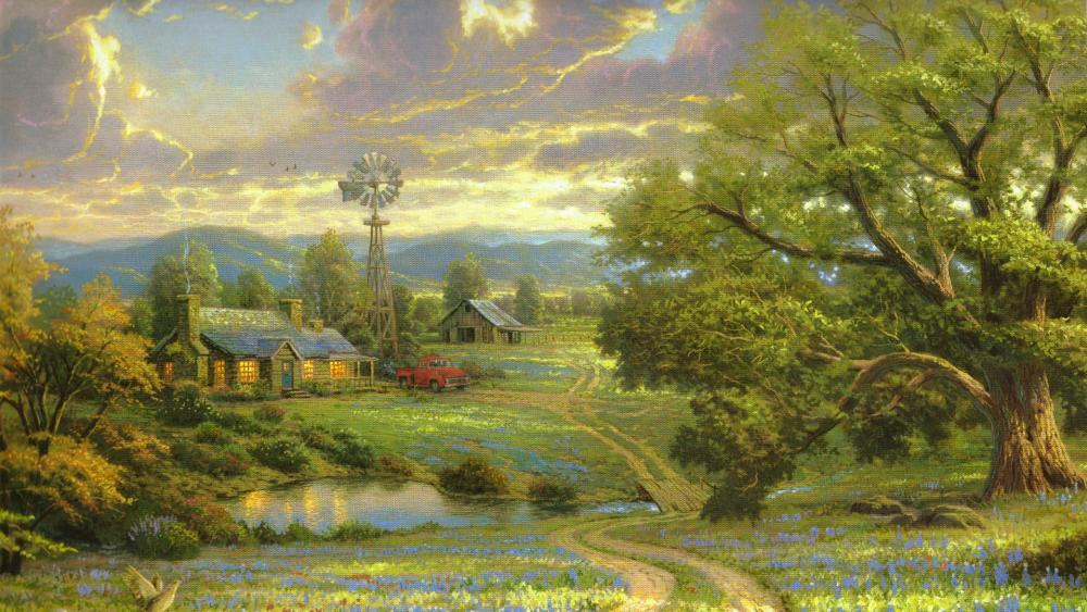 Farm with a pond - Painting art wallpaper