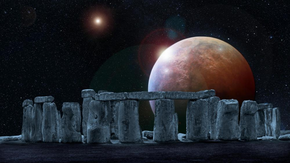 Stonehenge full moon - Fantasy art wallpaper