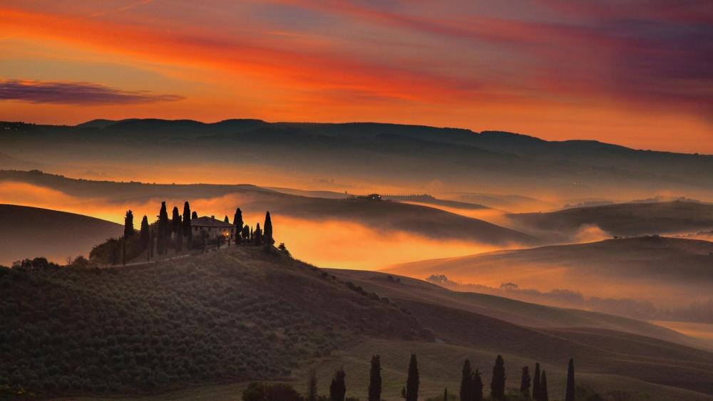 Val d'Orcia (Tuscany, Italy) wallpaper