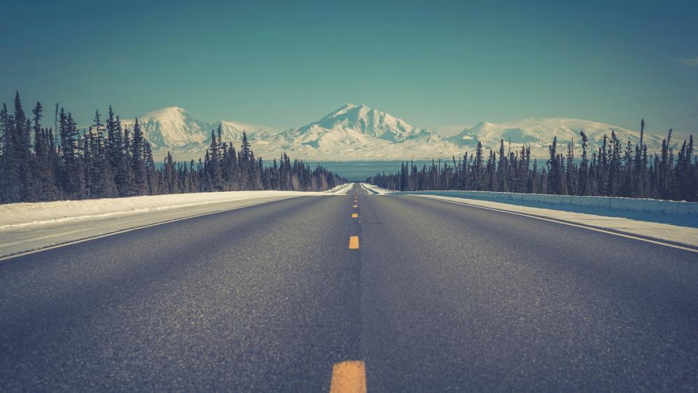 Winter highway wallpaper