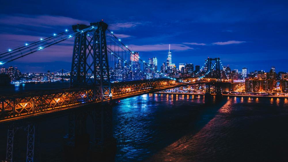 Williamsburg Bridge at night wallpaper