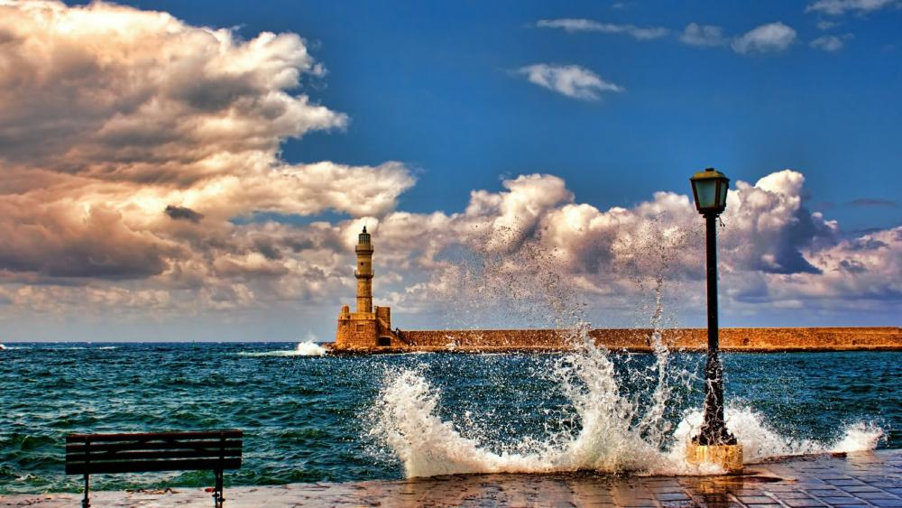 Venetian Lighthouse in Chania, Crete, Greece wallpaper