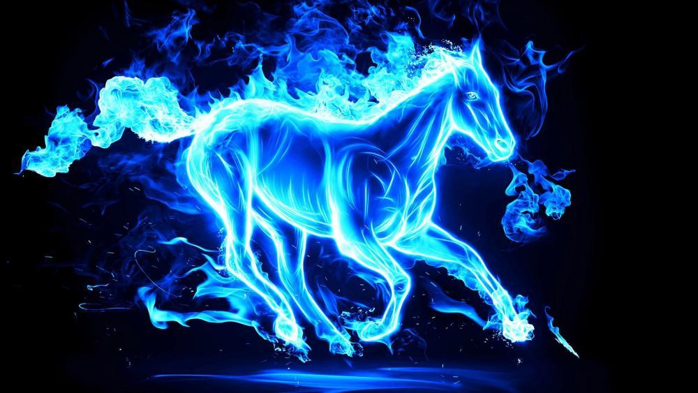 Blue horse - Digital art wallpaper