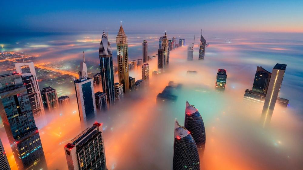 Dubai skyline in the fog wallpaper