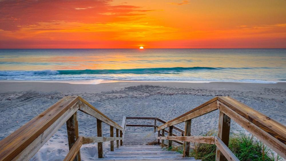 Coral Cove Park stairs at sunrise (Florida) wallpaper