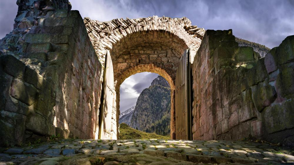 Ancient city gate wallpaper