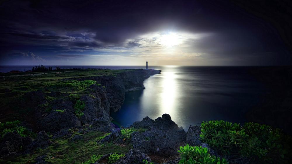 Cape Zanpa in the moonlight (Okinawa, Japan) wallpaper