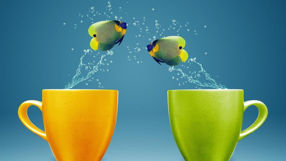 Jumping fishes wallpaper