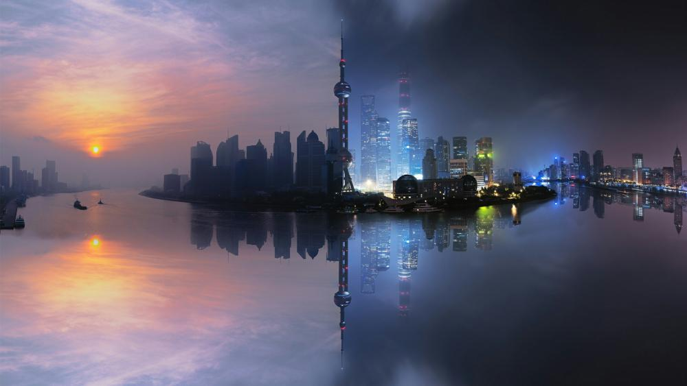 Shanghai Night and Day wallpaper