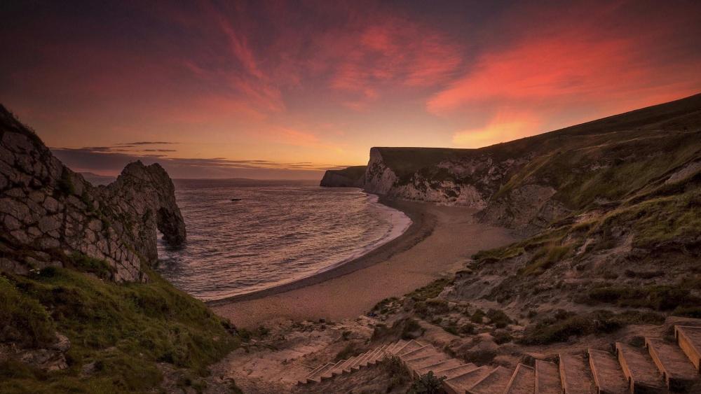 Durdle Door sunset, Jurassic Coast (England) wallpaper