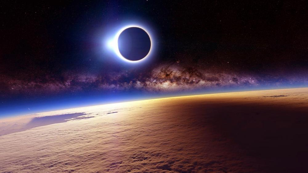 Eclipse from space wallpaper