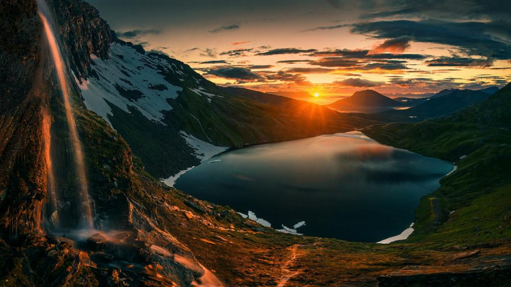 Sunset over Senja, Norway wallpaper