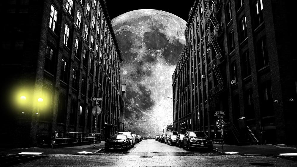 The moon at the end of the street wallpaper