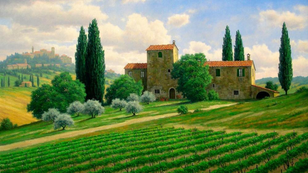 Tuscany - Painting art wallpaper
