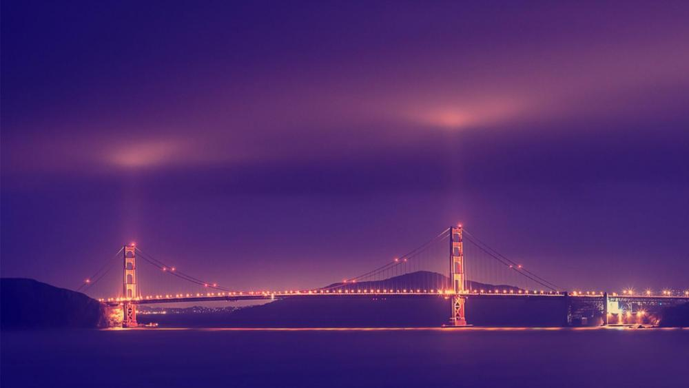 Golden Gate at night wallpaper