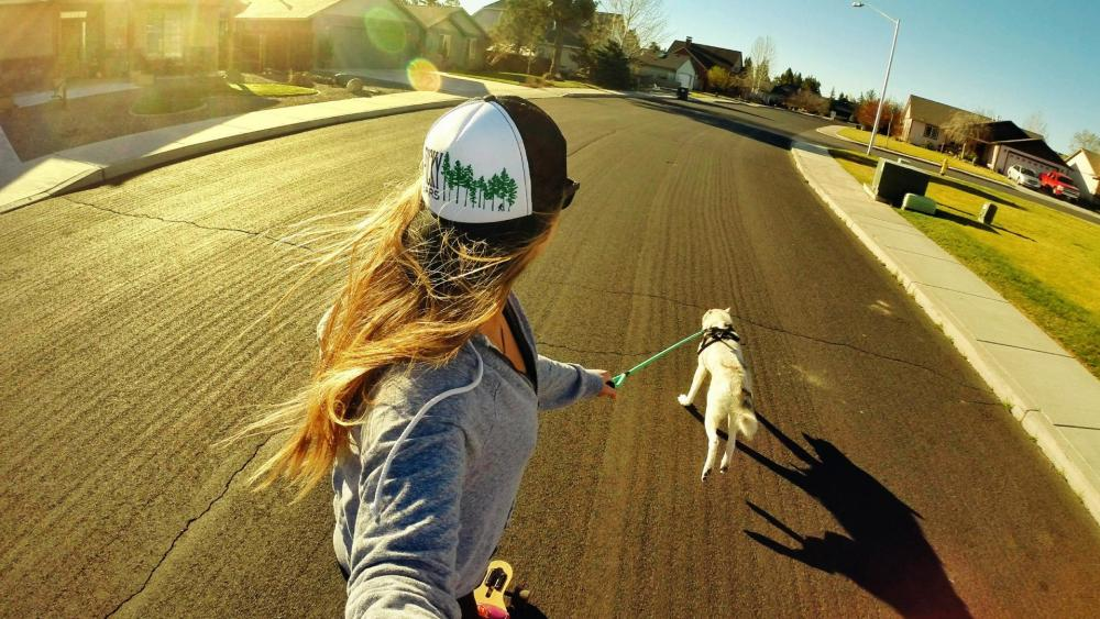 Skateboarding with dog wallpaper