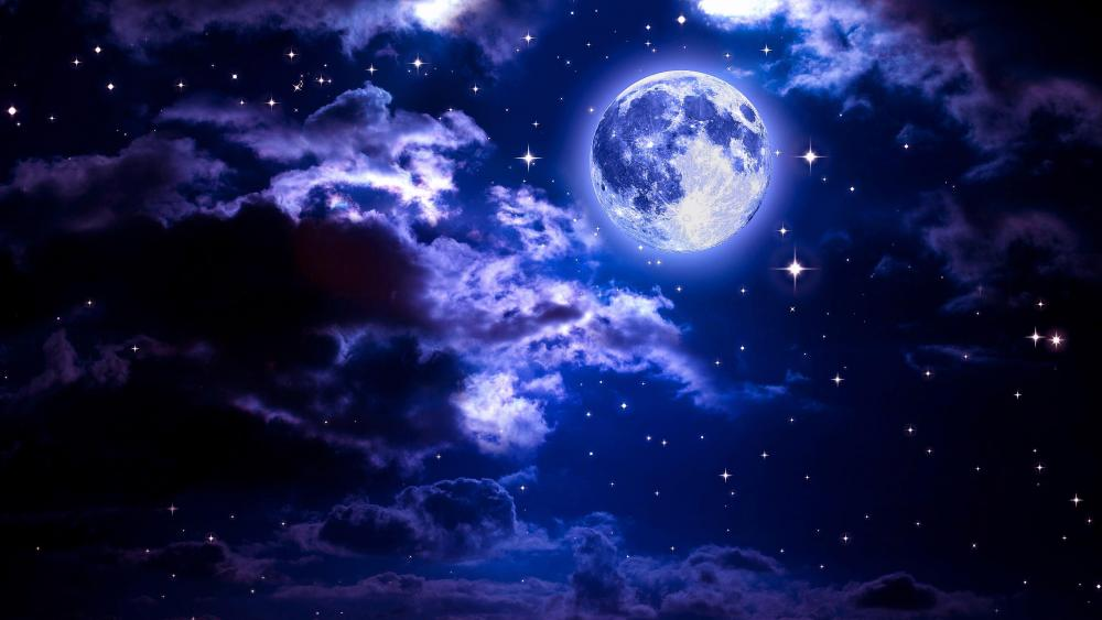 Full moon in the night sky among the stars wallpaper