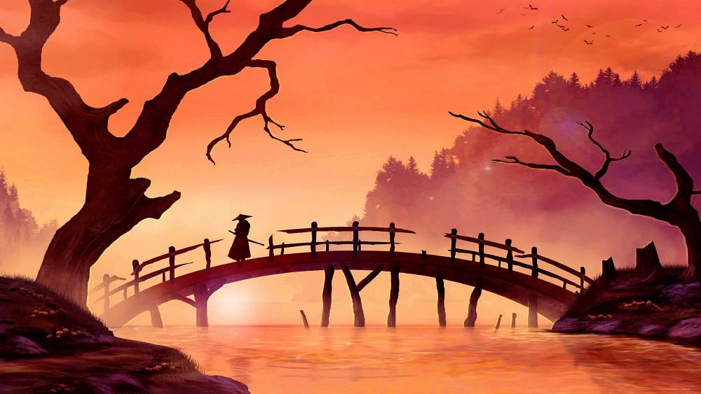 Samurai on bridge - Japan painting art wallpaper