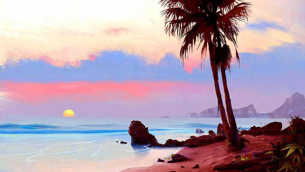 Tropical Sunset Painting wallpaper