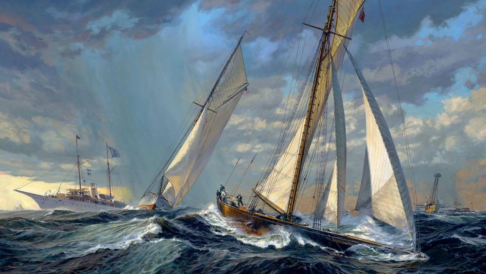 VOLUNTEER and THISTLE: America's Cup Start 1887 wallpaper