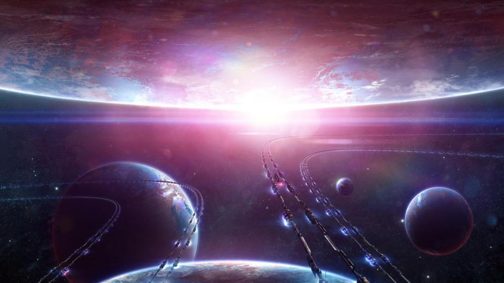 Fantasy space transport lines wallpaper