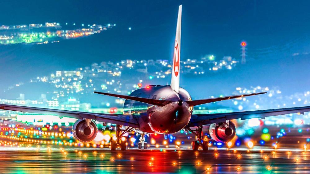 Airbus In Take-off Runway wallpaper