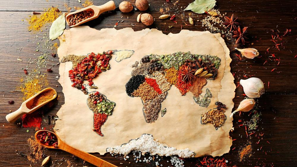 World map condiments wallpaper