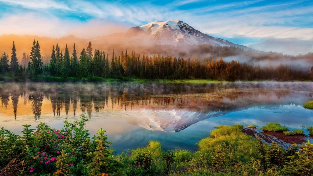 Mount Rainier and Bench Lake (Mount Rainier National Park, Washington) wallpaper