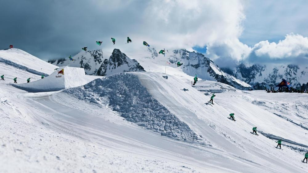 High-profile ski multiple exposure wallpaper