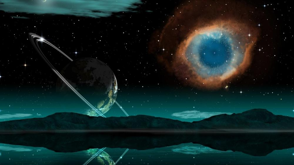 Ringed planet with Helix Nebula - Fantasy space art wallpaper