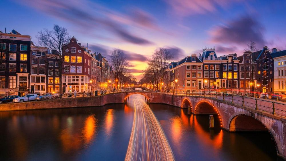 Light trails on the canal in Amsterdam wallpaper