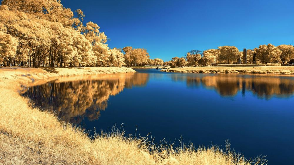 Castaic Lake at fall wallpaper