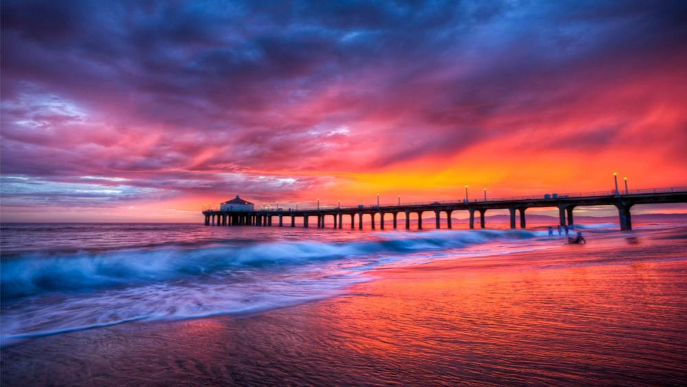 Manhattan Beach Pier at sunset wallpaper