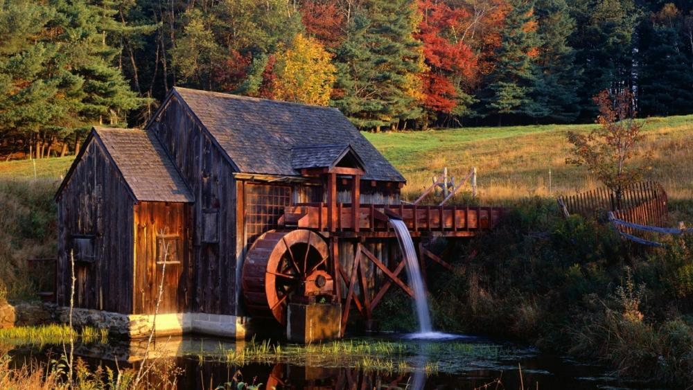Old Guildhall Grist Mill (Vermont) wallpaper