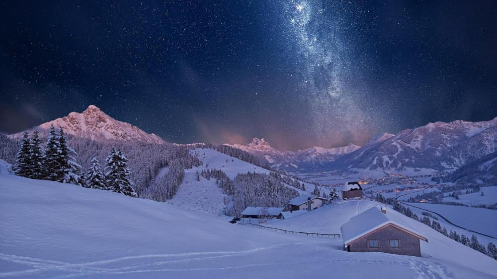 Milky way over Tyrol mountains in winter wallpaper